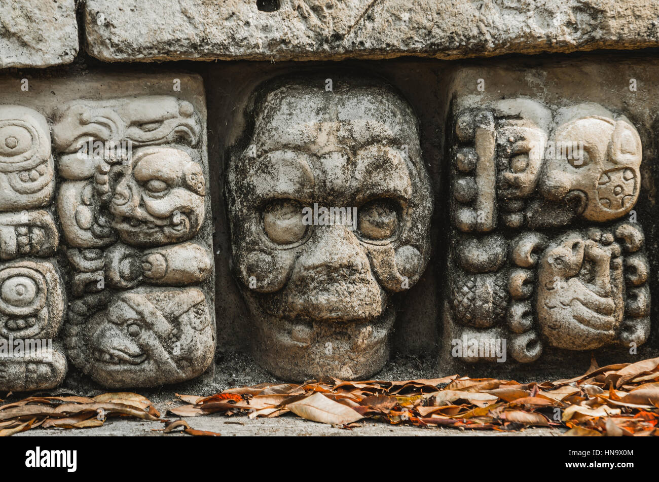 Stone sculpture at copán ruinas - Stock Image