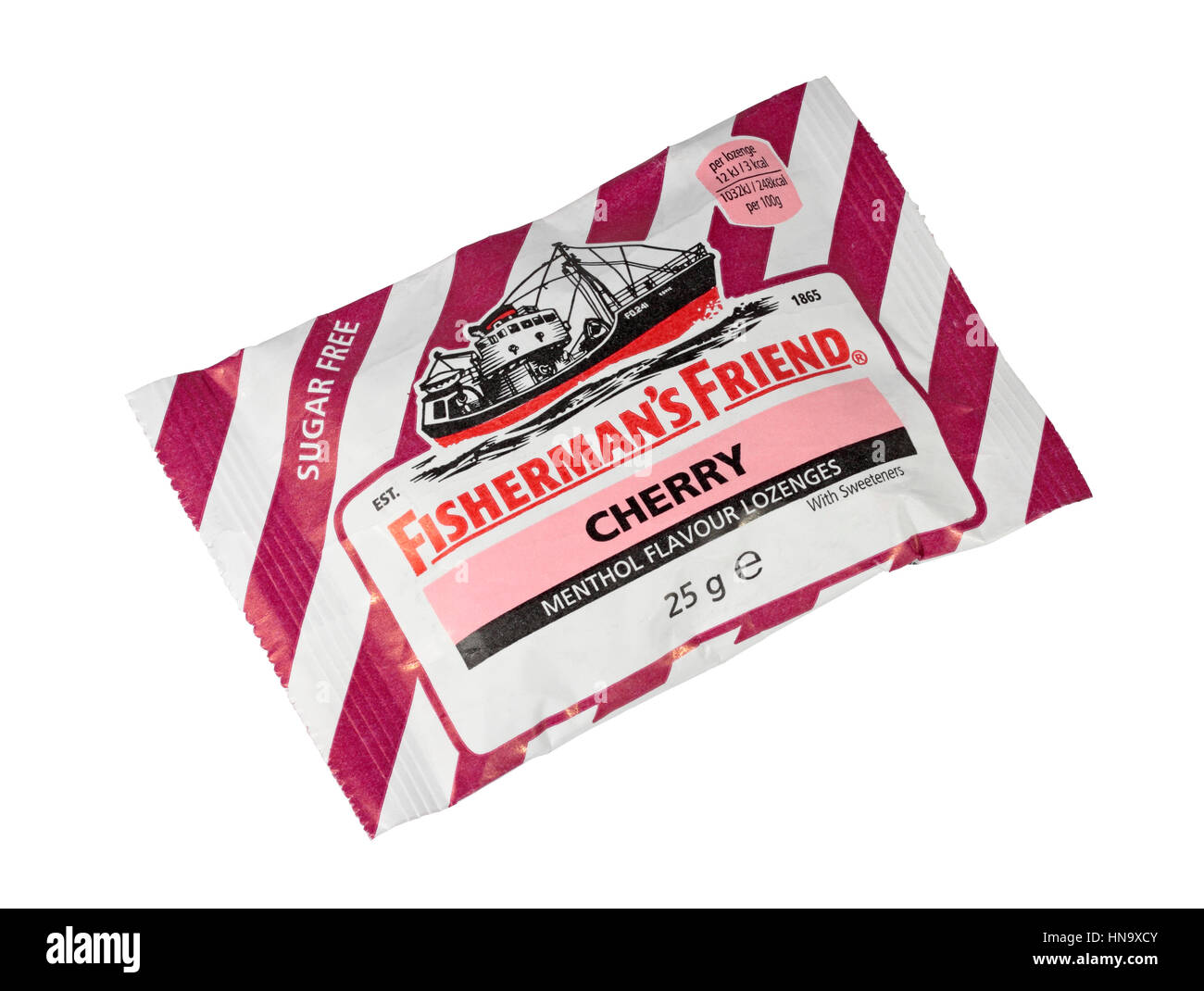 A 25g Packet of Cherry Flavoured Sugar Free Fisherman's Friends Isolated on a white background - Stock Image