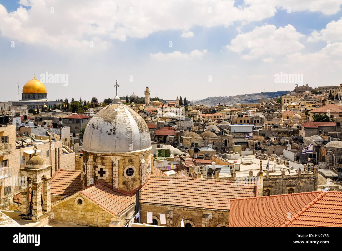 Old City of Jerusalem from Austrian Hospice Roof, Israel/Palestine - Stock Image