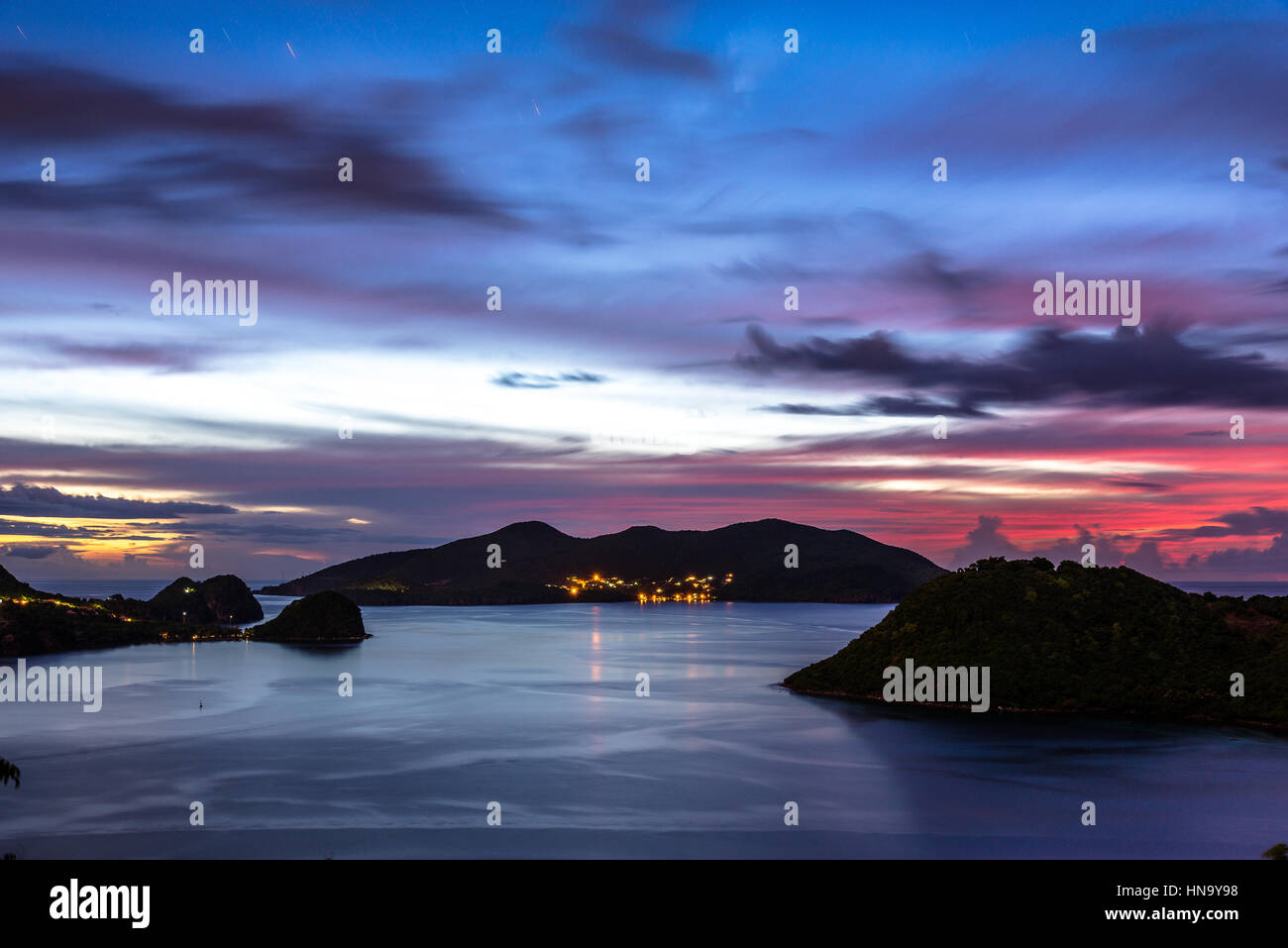 Islands of the Saints after sunset (long exposure) - Stock Image