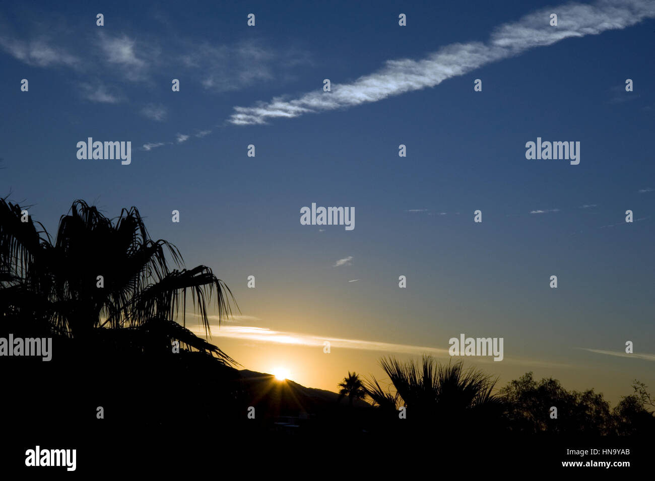 Sunrise in the desert near Palm Springs, CA - Stock Image