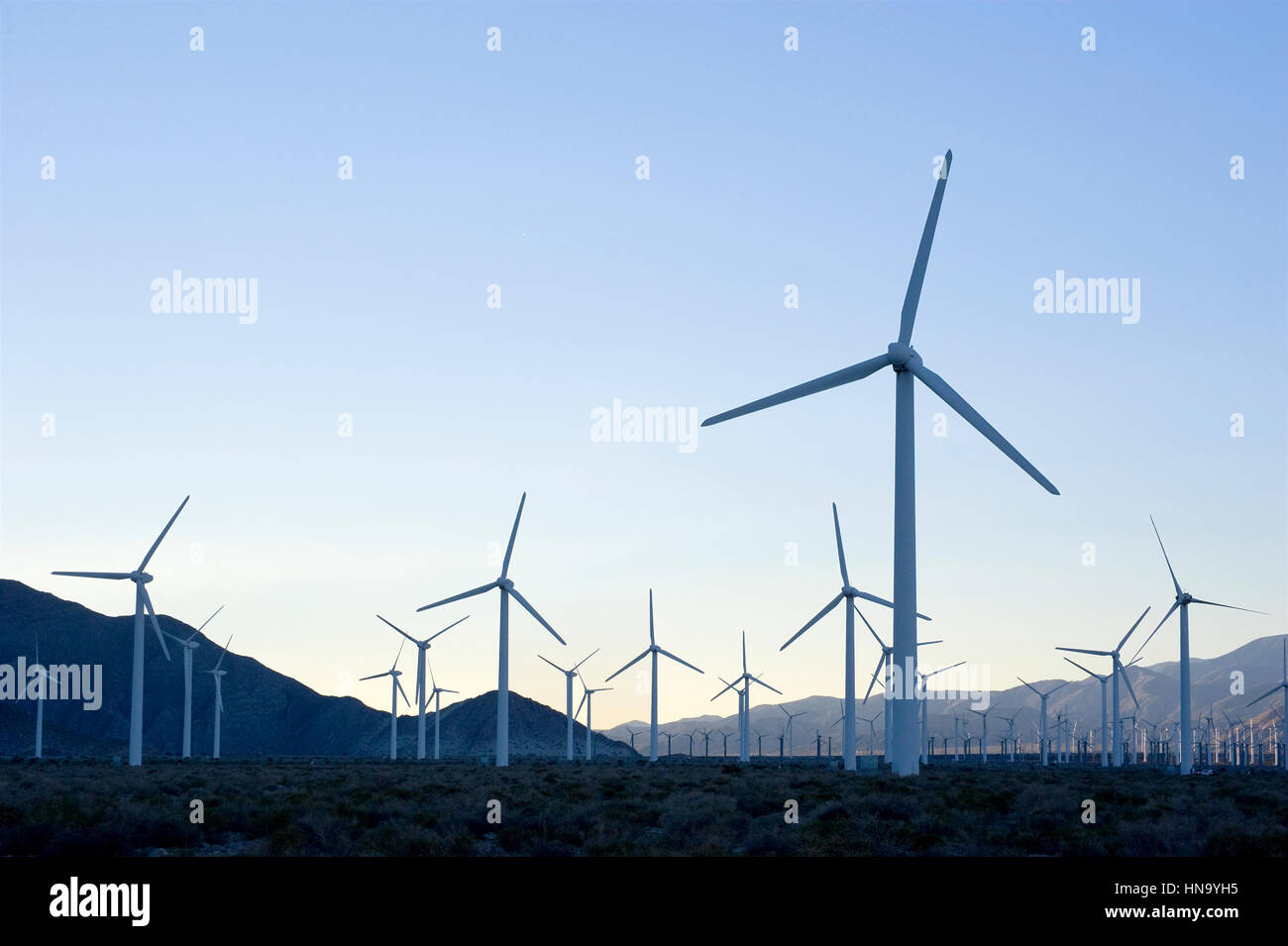Wind mills in the Palm Desert near Palm Springs - Stock Image