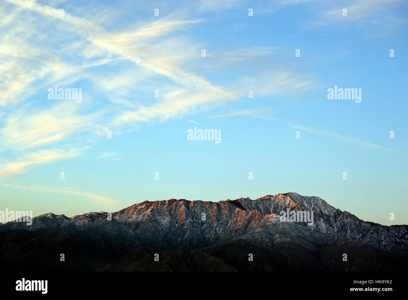 Mountains with snow at dawn near Palm Springs, California - Stock Image