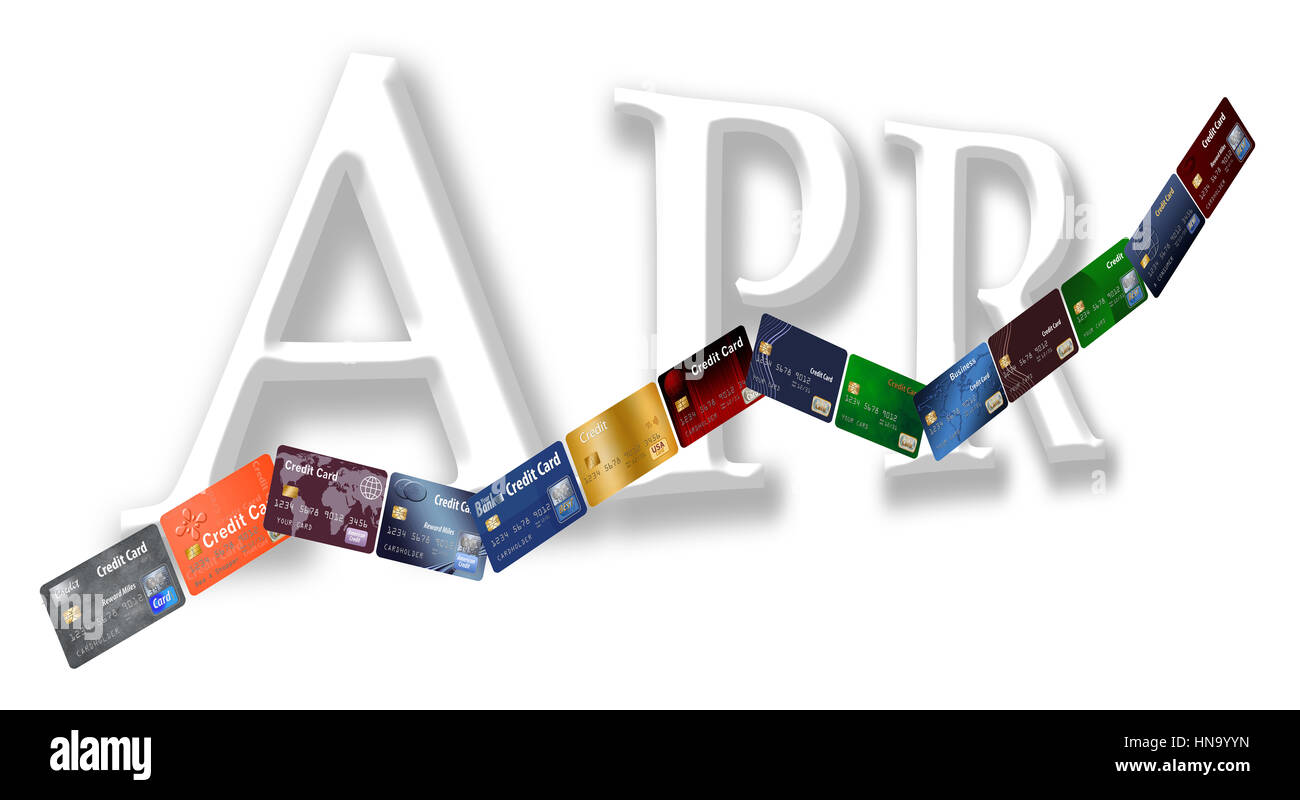 The rising annual percentage rate (APR) is illustrated with credit cards in a row going up on an APR chart. - Stock Image
