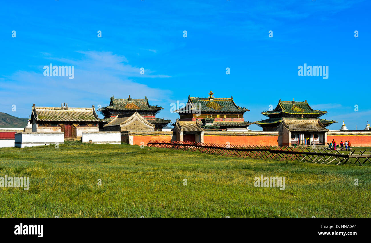 Temple at the monastery Erdene Zuu, Karakorum Kharkhorin, Orkhon Valley, Övörkhangai Aimag, Mongolia - Stock Image