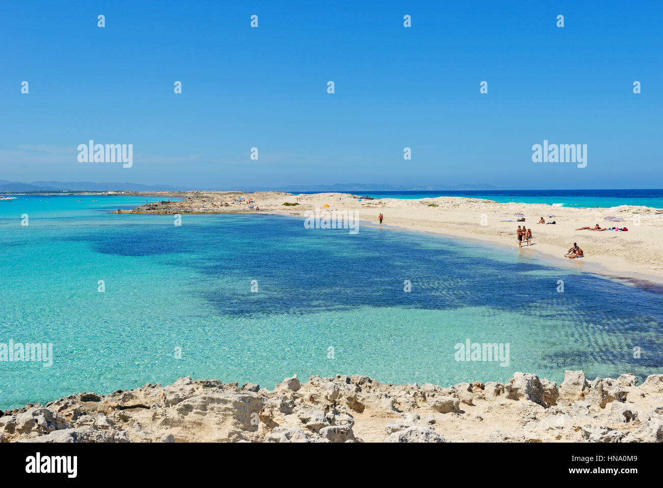 Tourquoise water, Ses Illetes beach, Formentera, Balearic Islands, Spain - Stock Image