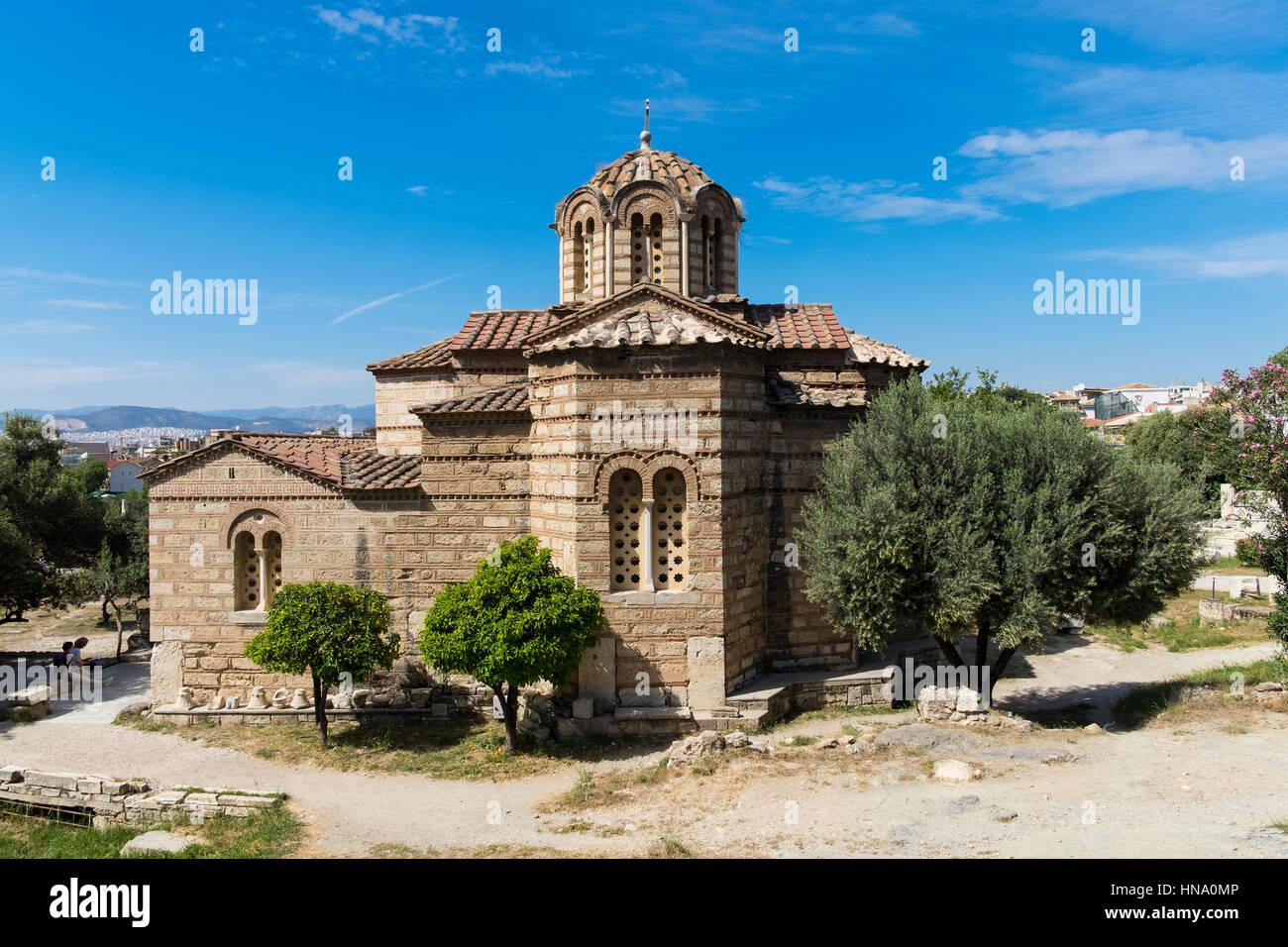 Byzantine Greek Orthodox Church, ancient Agora, Athens, Greece - Stock Image
