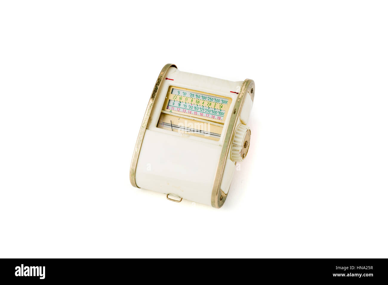 Vintage white light meter isolated on white background. Studio shot. Front View. - Stock Image