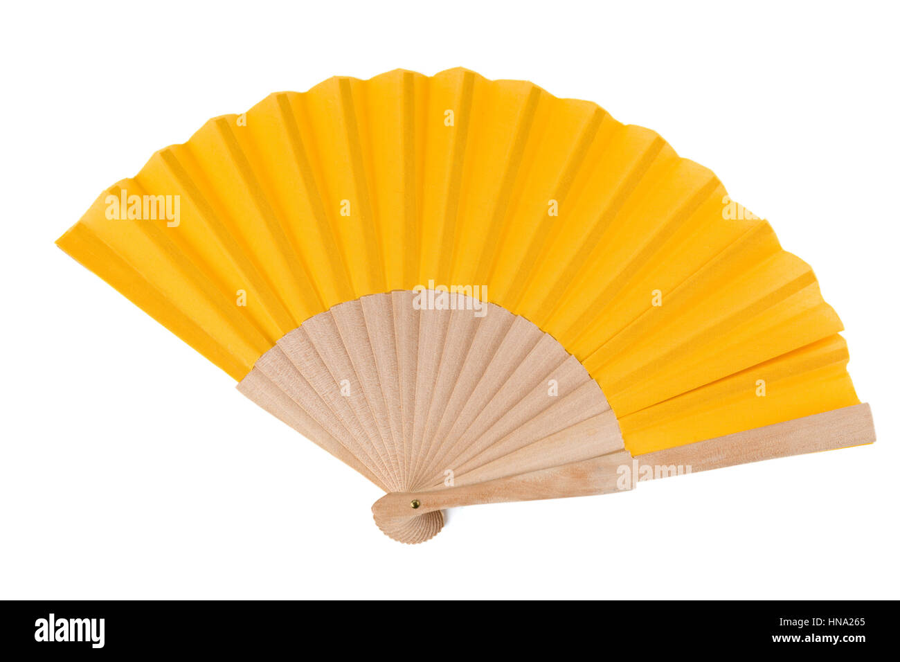 Yellow Open Hand Fan Isolated on a White Background. Top View. Studio shot. - Stock Image