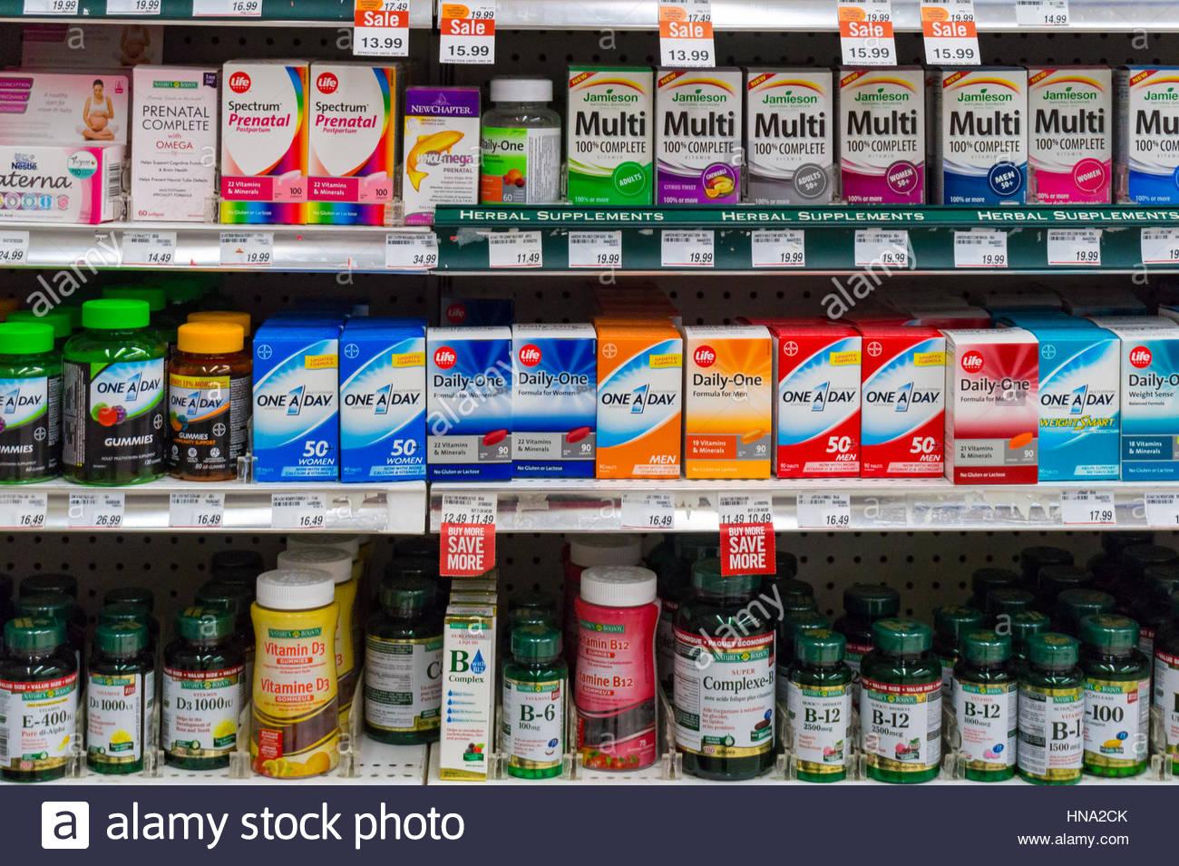 Over the counter medications shelf in pharmacy drugstore