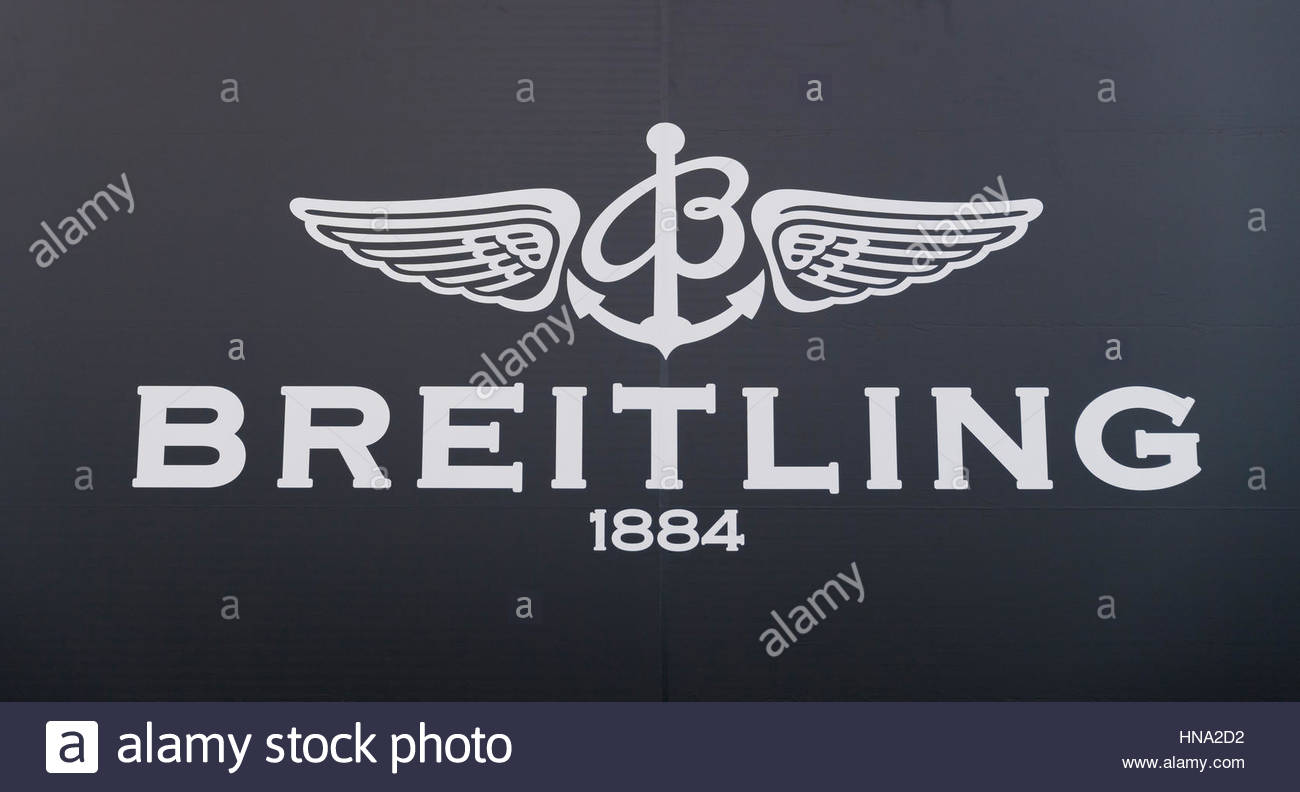 Logo of swiss watch brand Breitling, which is best known for its chronometers. In existence since 1884. - Stock Image
