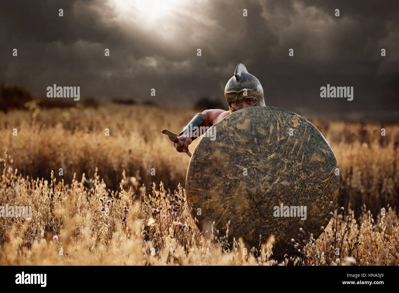 Incognito warrior going forward in attack. - Stock Image
