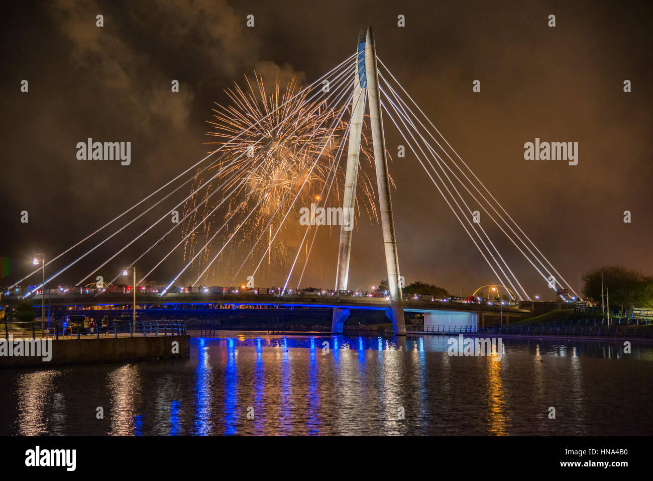 Reflections on Southport fireworks competition display over the Marine Lake. - Stock Image