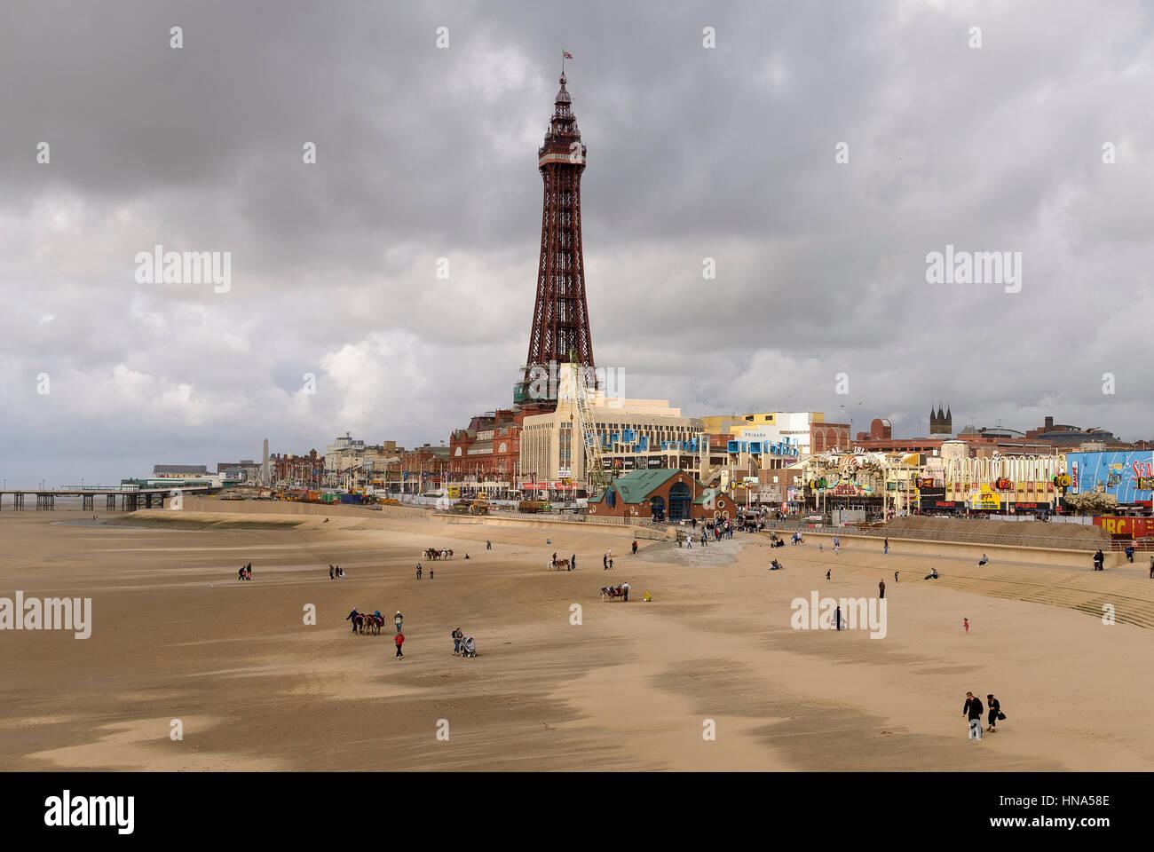 Blackpool tower onad Golden Mile beach. Lancashire. - Stock Image