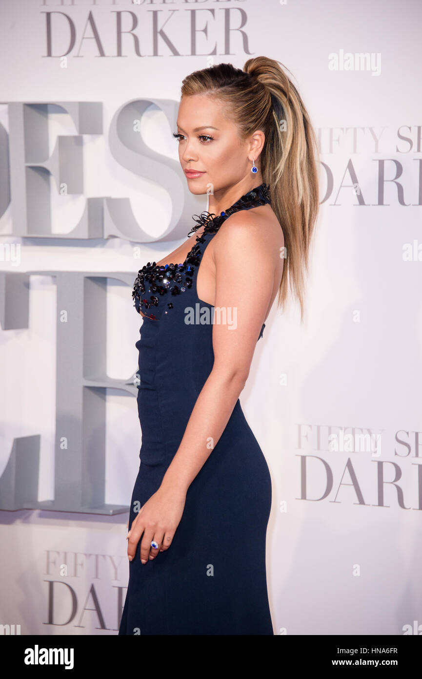 Rita Ora attends the premiere of Fifty Shades Darker Odeon Leicester Square, London. - Stock Image
