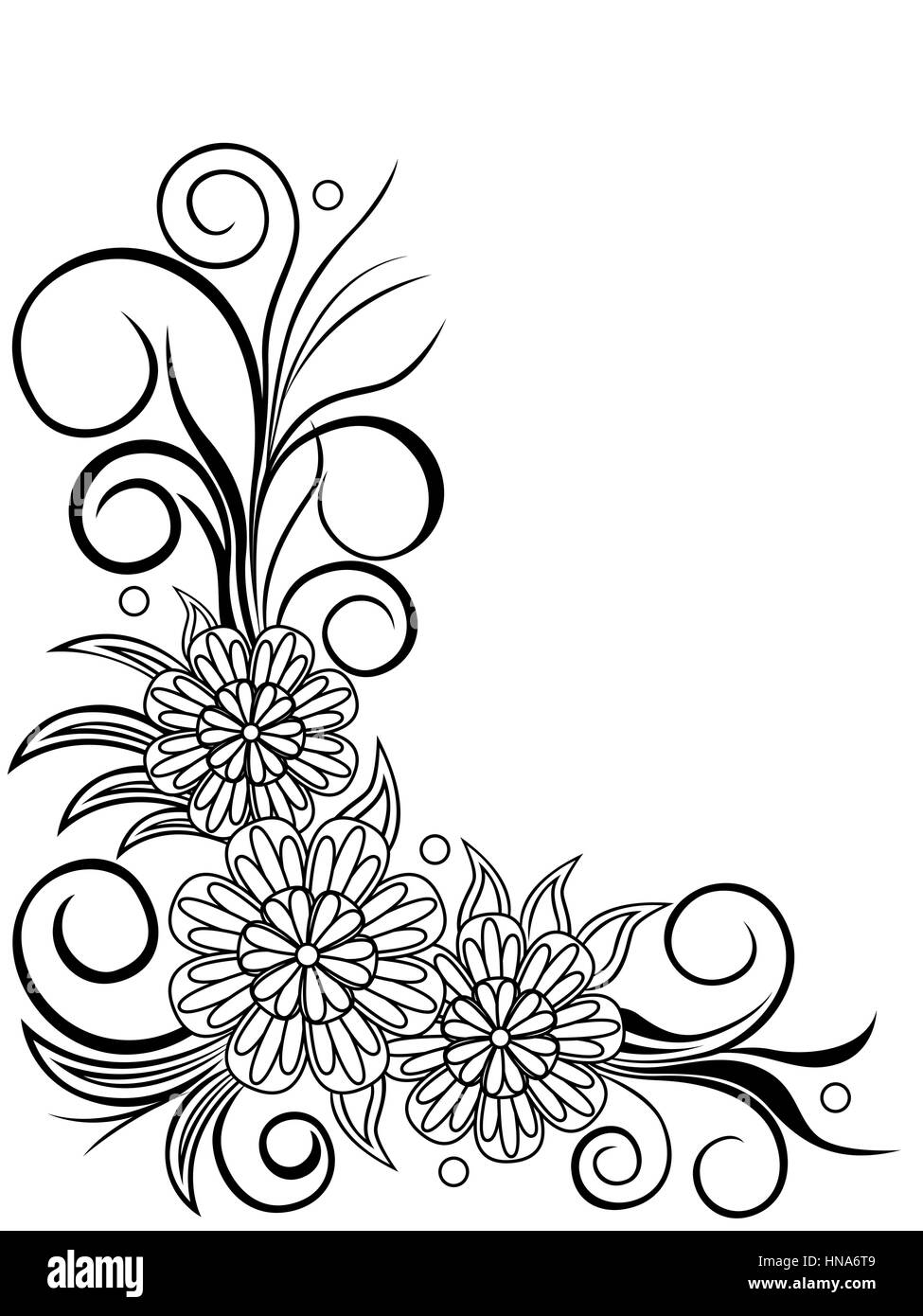 Sheet with floral corner design, hand drawing vector illustration