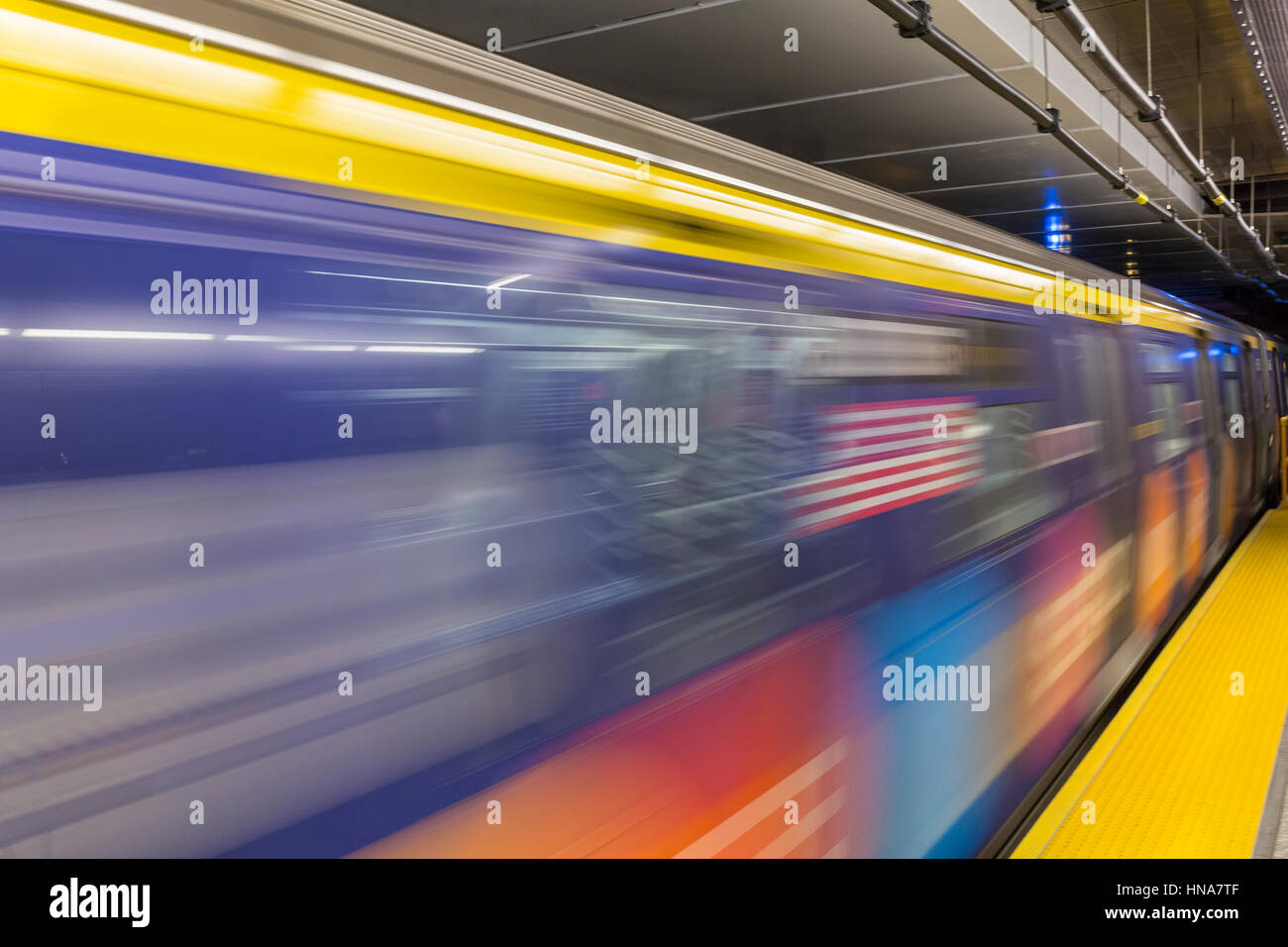 February 5, 2017: A colorful Second Avenue train arriving at the new 86th Street Q Train platform, New York. - Stock Image