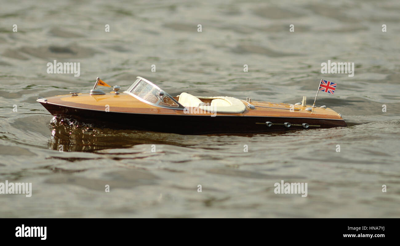 Proboat Volere on lake in Sudbury, ON, Canada Stock Photo