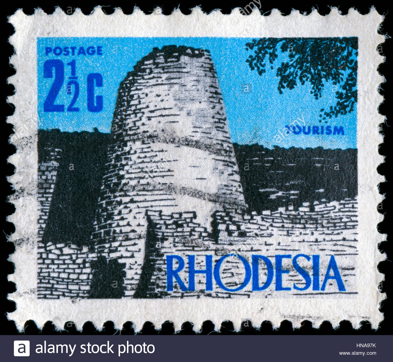 Postage stramp from the former state of Rhodesia in the New Currency Definitives series issued in 1970 - Stock Image