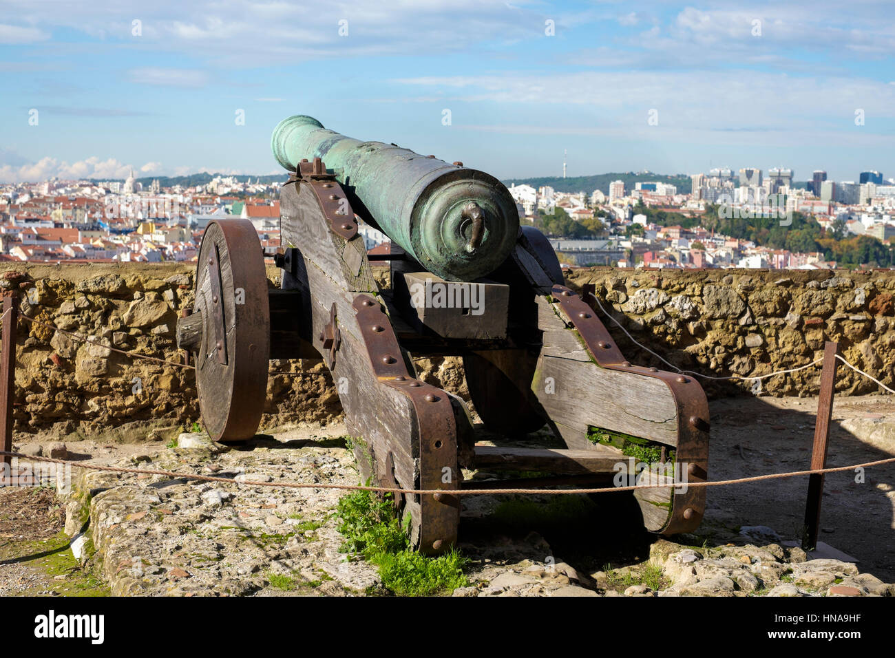 Cannon on Castle of Sao Jorge, Lisbon, Portugal - Stock Image