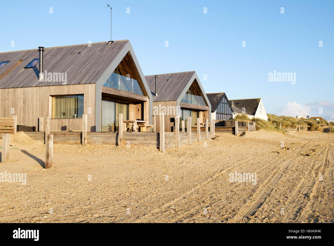 Camber sands Beach Houses, Architects: Walker and Martin, East Sussex, England, UK - Stock Image