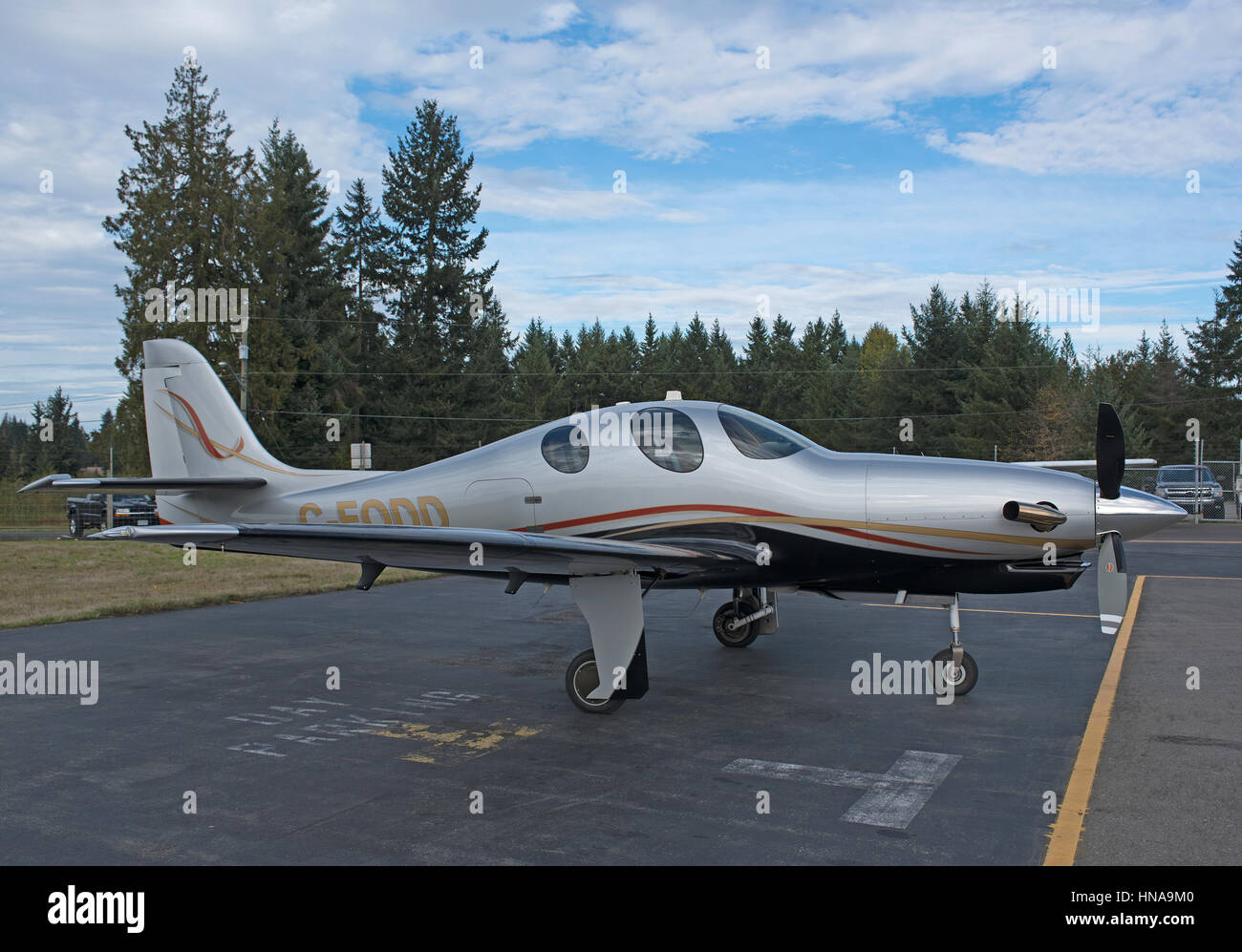 Lancer Evolution piston engined private civil aircraft serial registration C-FODD. - Stock Image