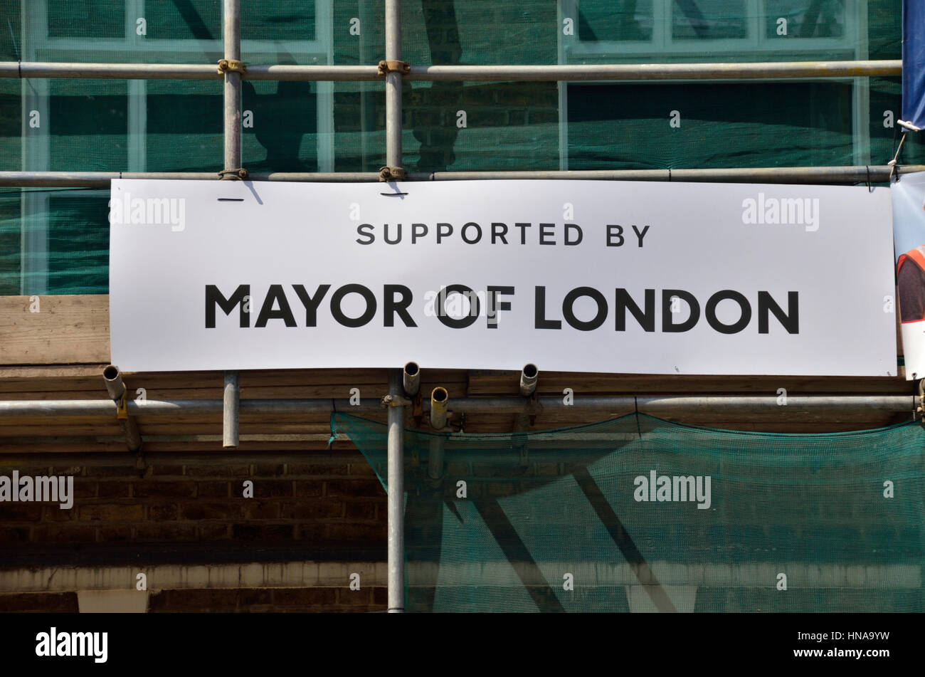 'Supported by Mayor of London' sign on a building, London, UK. - Stock Image