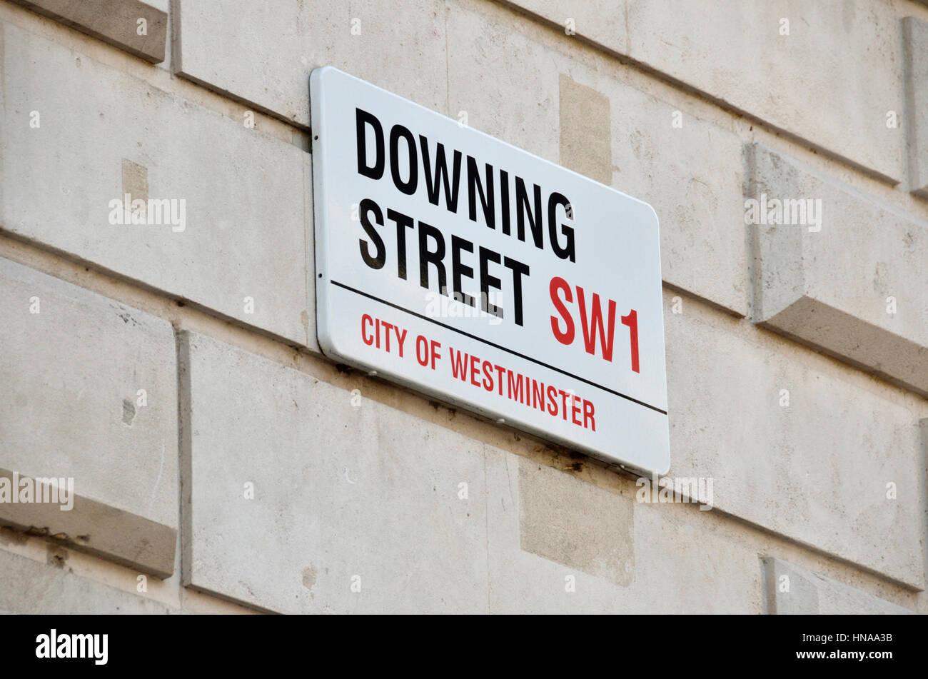 Downing Street sreet sign, London, UK. - Stock Image