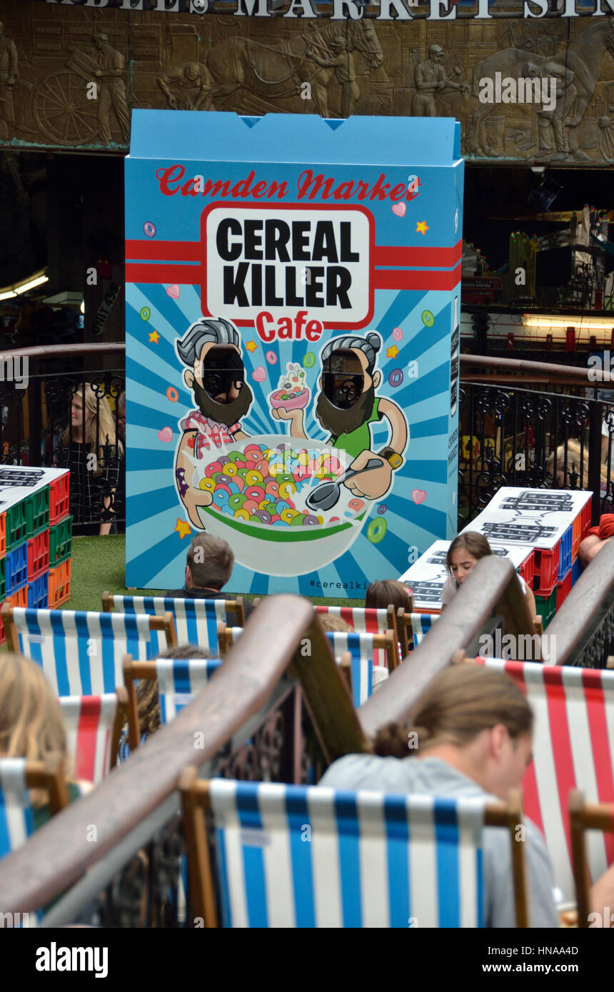 Cereal Killer Cafe in Camden Stables Market, Camden Town, London, UK. - Stock Image