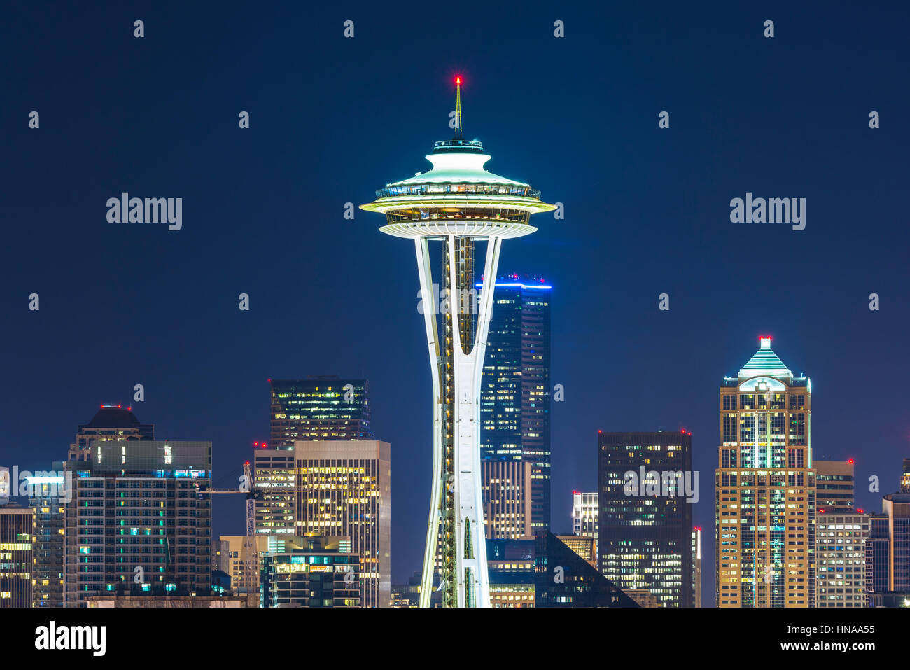 Seattle,Washington,usa.2015/02/22: beautiful space needle at night. - Stock Image