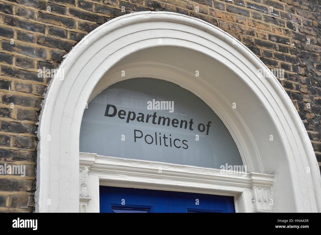 University department of politics sign above a doorway - Stock Image