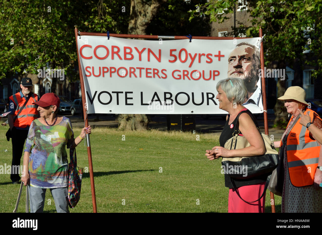 Jeremy Corbyn 50 Years Plus Labour Party Supporters Group banner at a rally - Stock Image