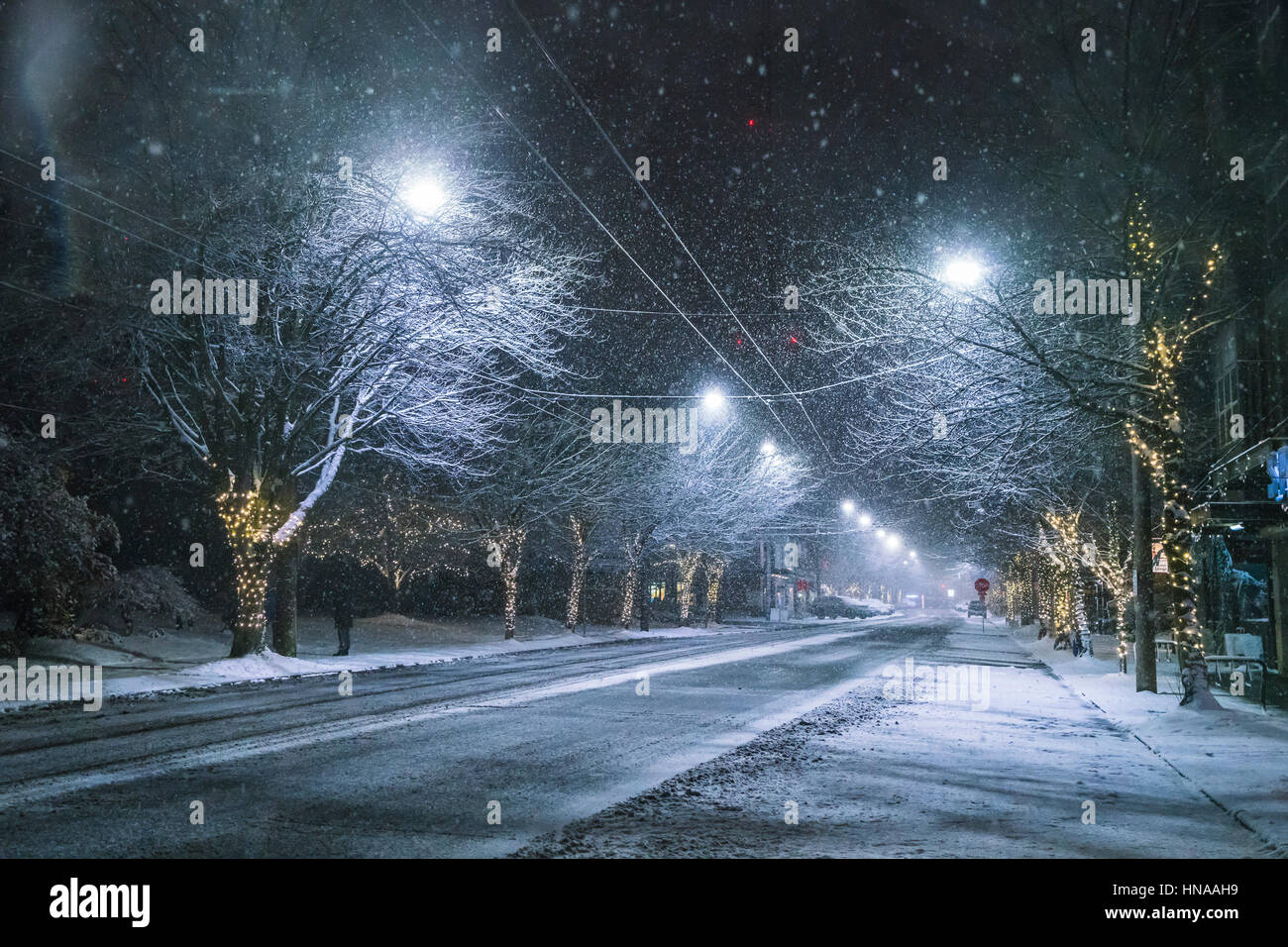 snowy road at night in downtown in winter season Stock Photo