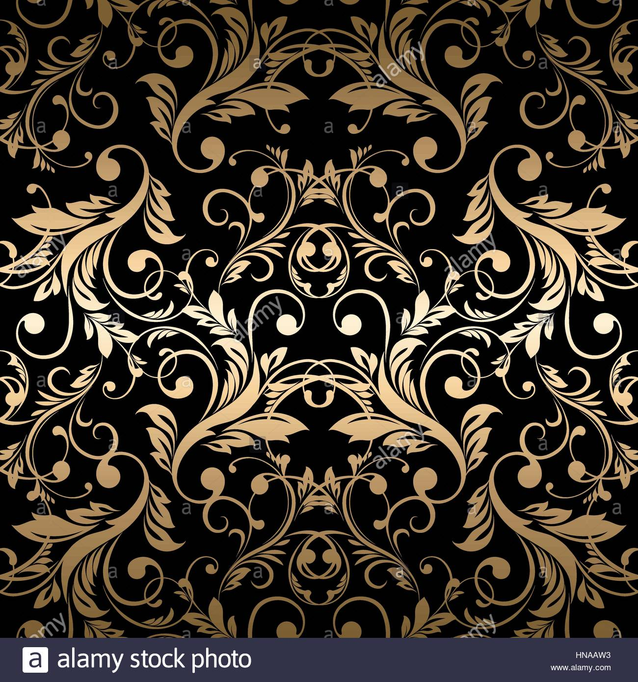Luxury Golden Wallpaper Vintage Seamless Damask Pattern Vector Background