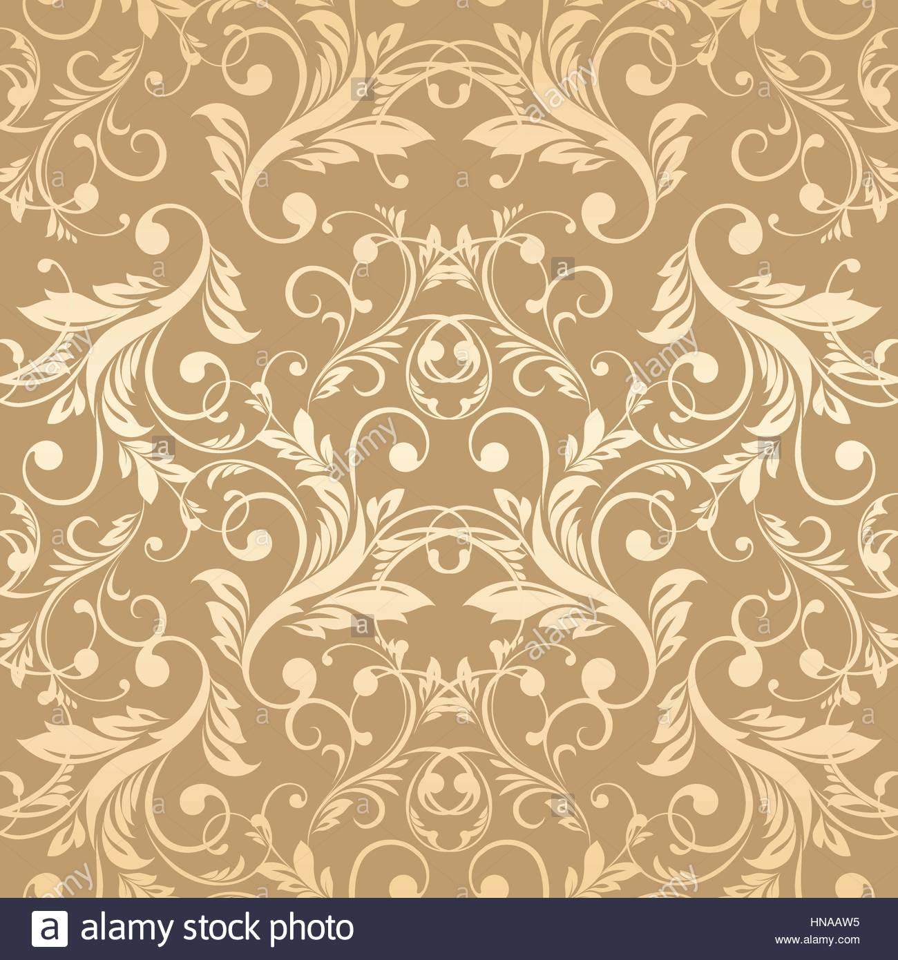 Luxury Golden Wallpaper Vintage Seamless Damask Pattern Vector Background