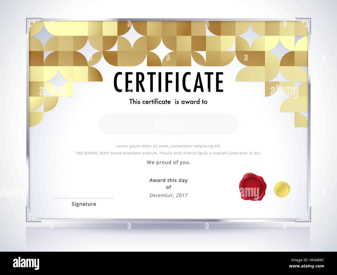 Golden certificate template design  Luxury certificate