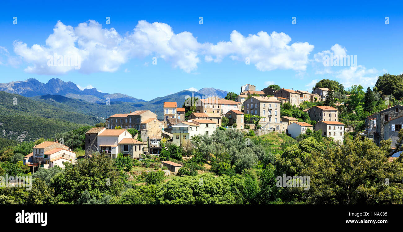 Mountain Village, West Corsica, France - Stock Image