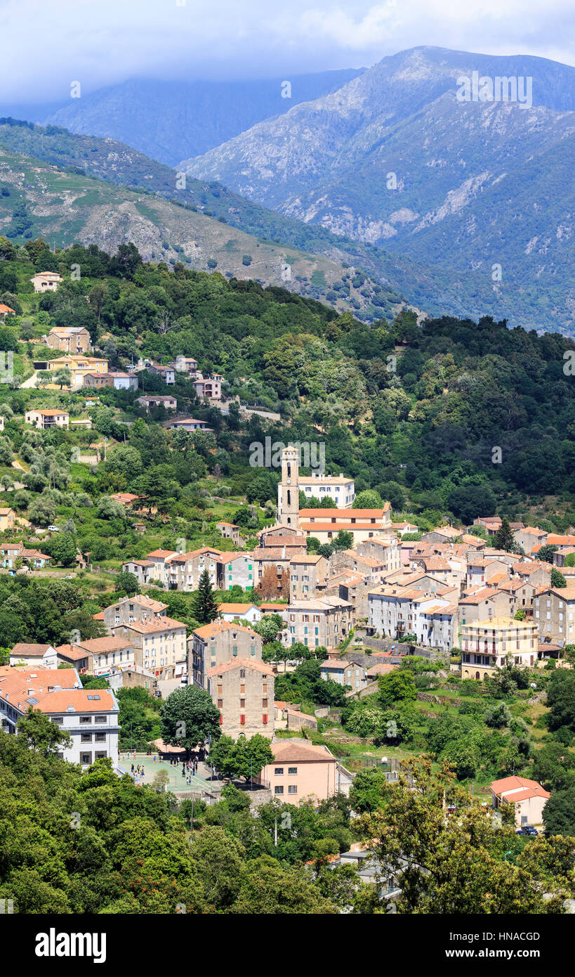 The mountain village of Vico, West Corsica, France - Stock Image