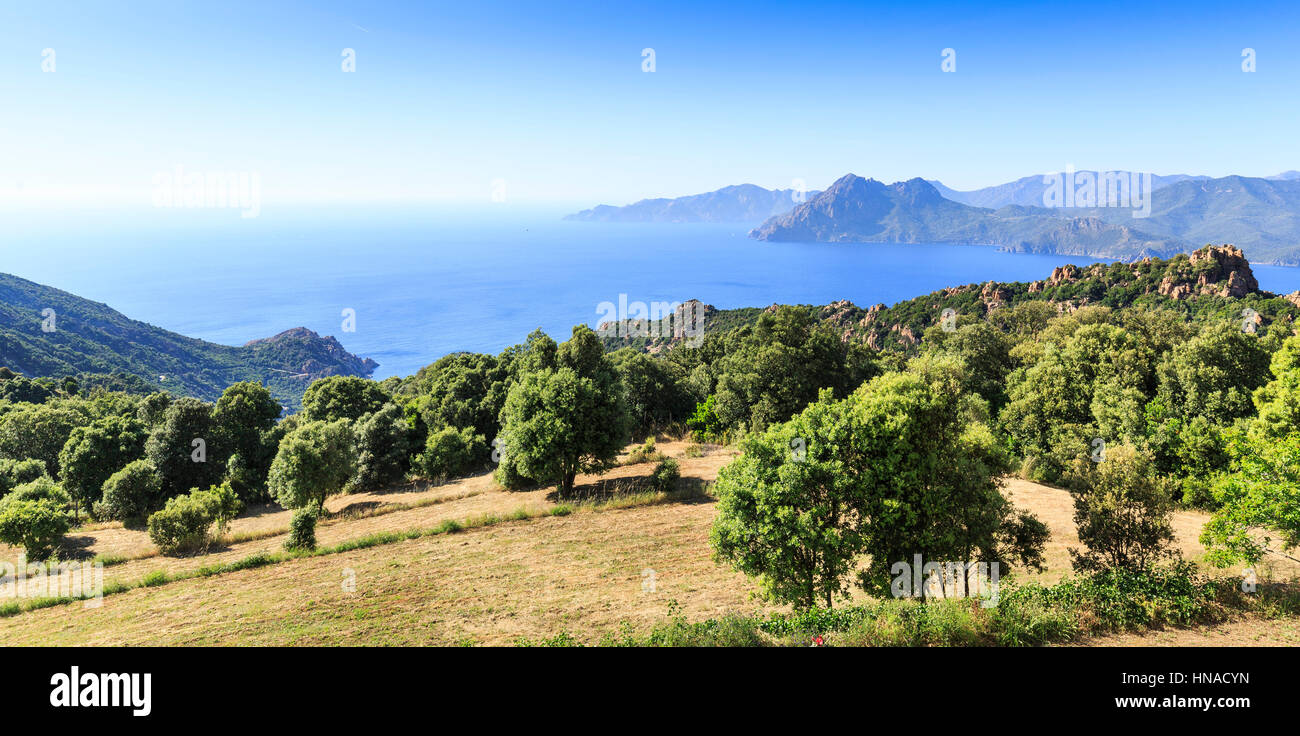 The Gulf Of Porto looking towards Scandola , Corsica, France - Stock Image