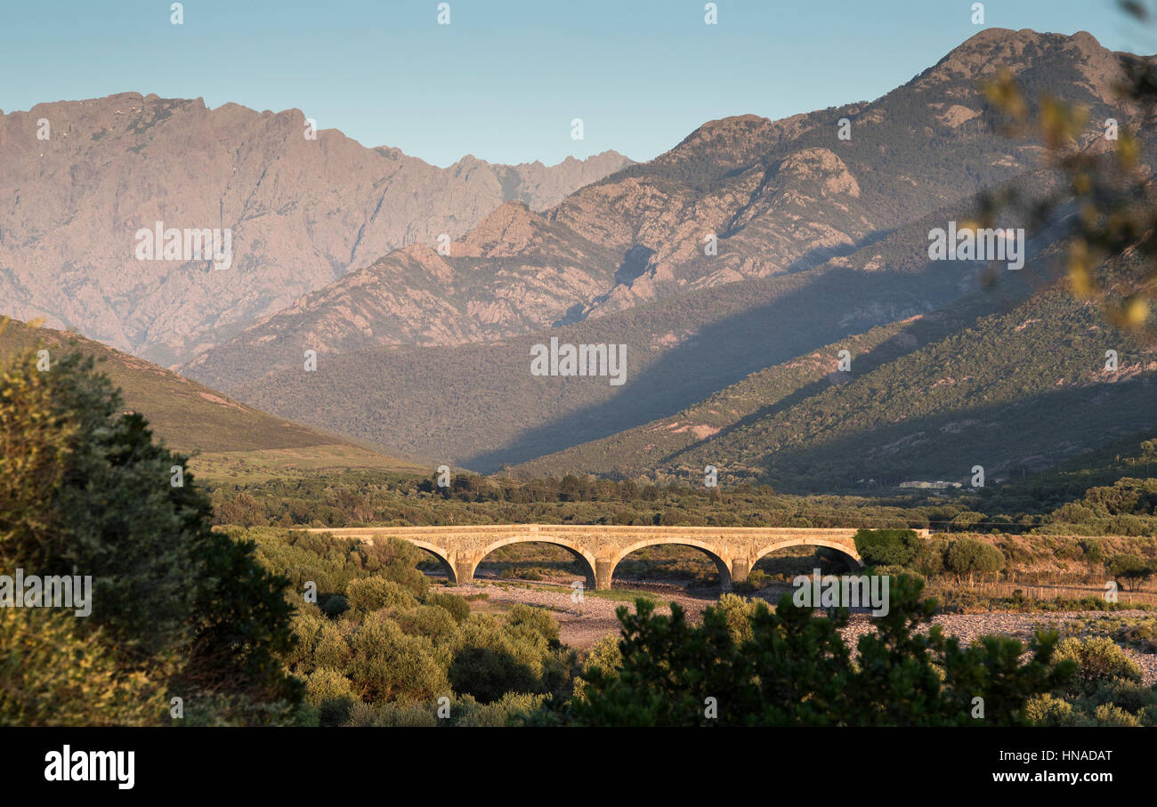arched bridge over river, Galeria, Corsica, France - Stock Image