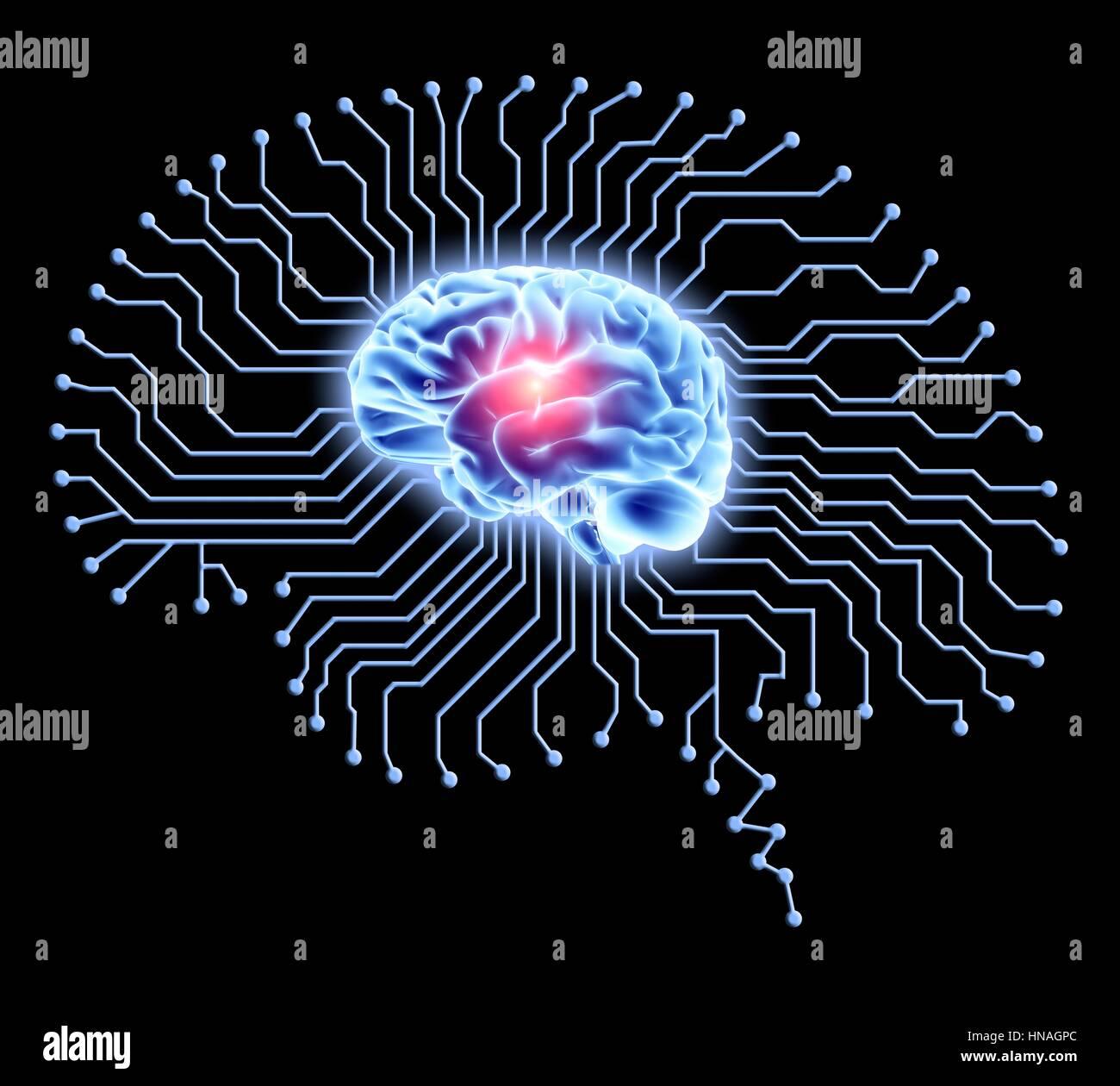 Human brain on brain-shaped printed circuit board. Conceptual Stock ...