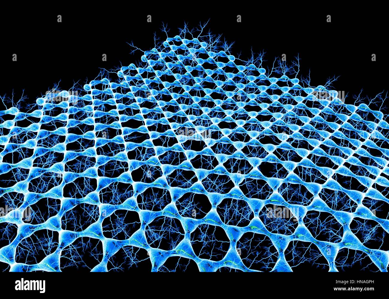 Graphene sheet. Illustration of the atomic-scale molecular structure of graphene, a single hexagonal layer of graphite. - Stock Image