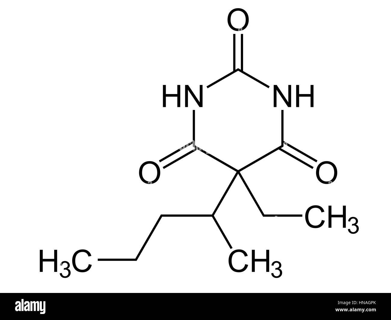 Pentobarbital (Pentobarbitone ). Structural formula. This short-acting barbiturate has sedative, hypnotic, preanesthetic - Stock Image