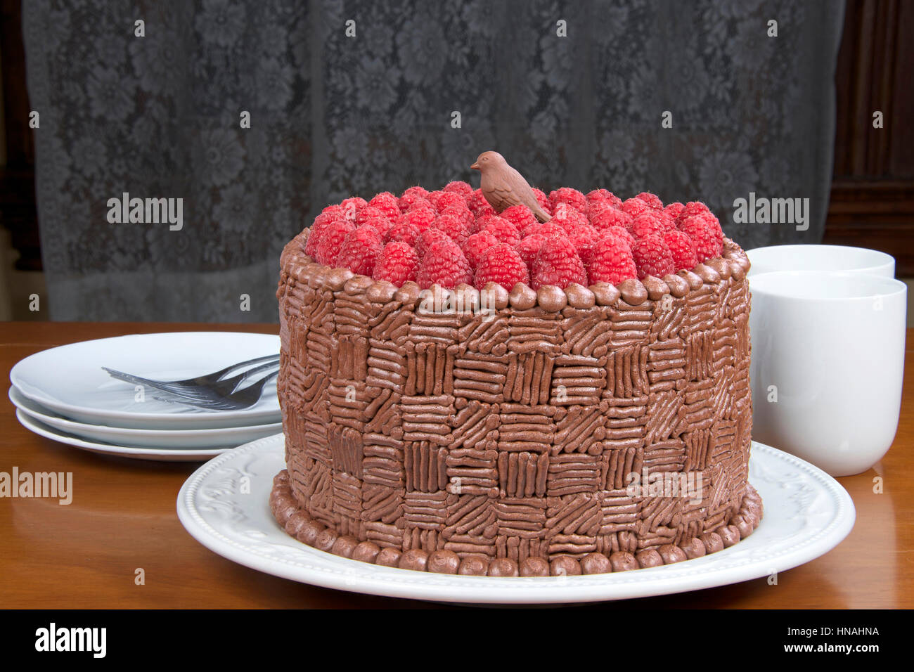 Home Made Original Design Chocolate Cake With Fresh Raspberries On Stock Photo Alamy