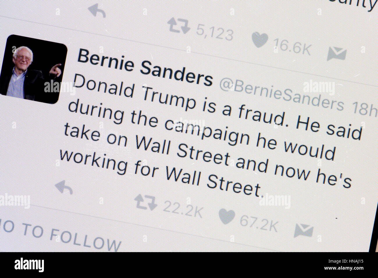 Senator Bernie Sanders Twitter account - USA - Stock Image