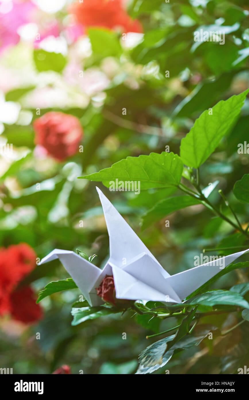 Paper Origami In Green Garden Background White Crane On Branch
