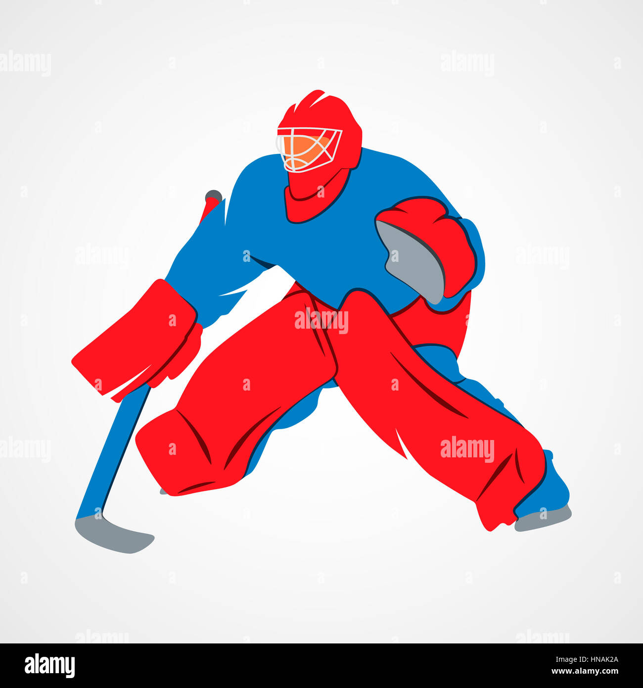 Abstract Hockey Goalie Player On A White Background Photo Stock
