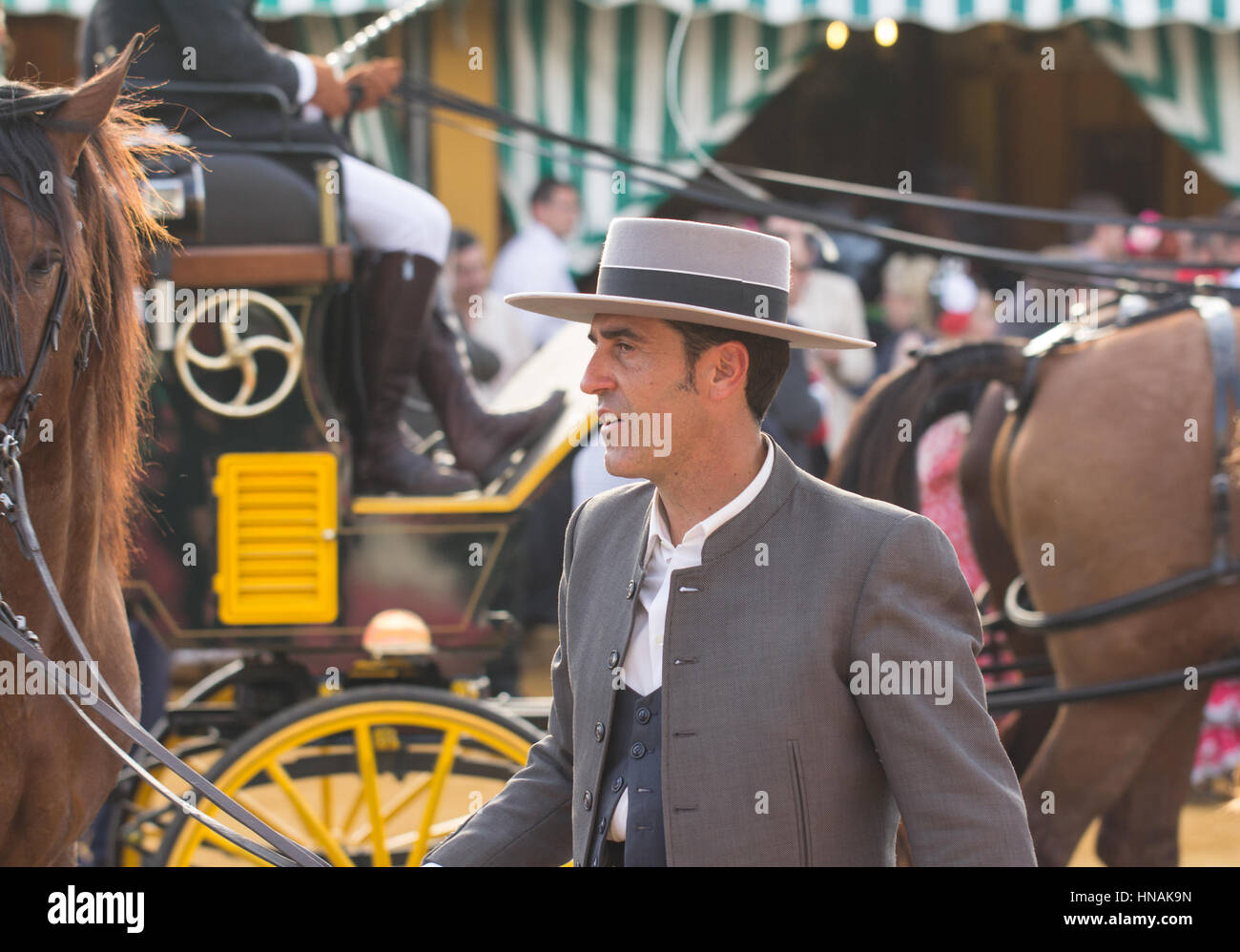 SEVILLE, SPAIN - APR, 25: man in traditional costume at the Seville's April Fair on April, 25, 2014 in Seville, - Stock Image