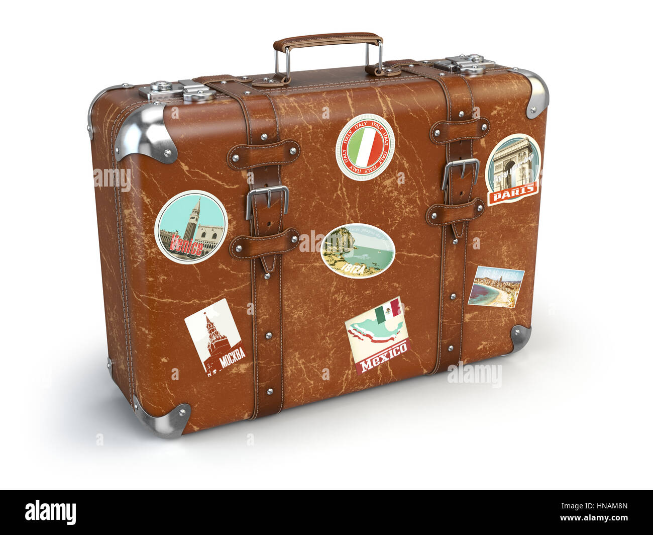 retro suitcase baggage with travel stickers isolated on white stock photo 133615797 alamy. Black Bedroom Furniture Sets. Home Design Ideas