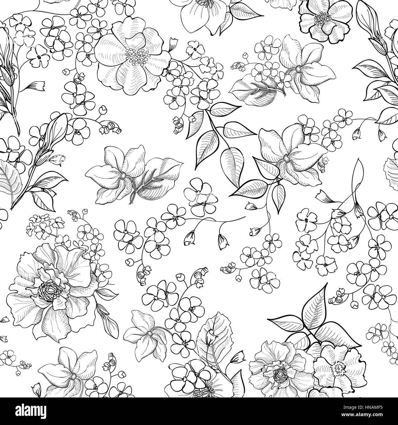 Floral seamless background. Decorative flower pattern. Floral seamless texture with flowers. - Stock Image